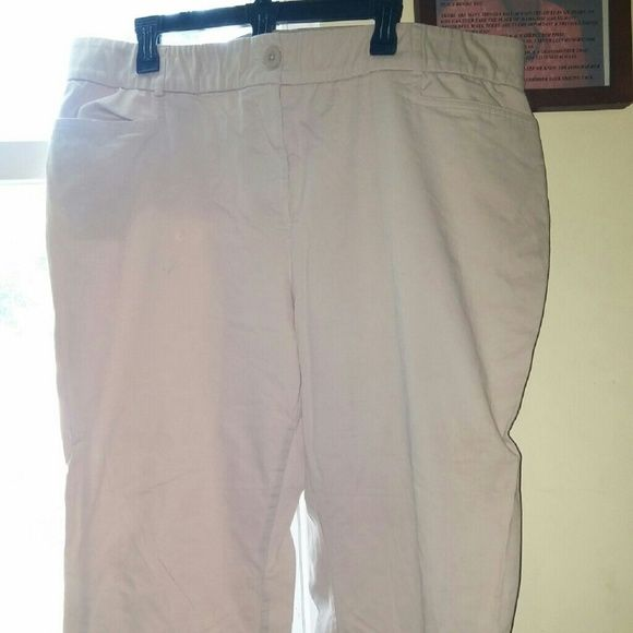 """Plus size Khaki Pants Khaki pants with elastic in the waist even though the pants have a zipper & button. These are a short 20W for some one about 5'2"""". Tags were taken off the pants but no one ever wore them. Kim Rogers Pants"""