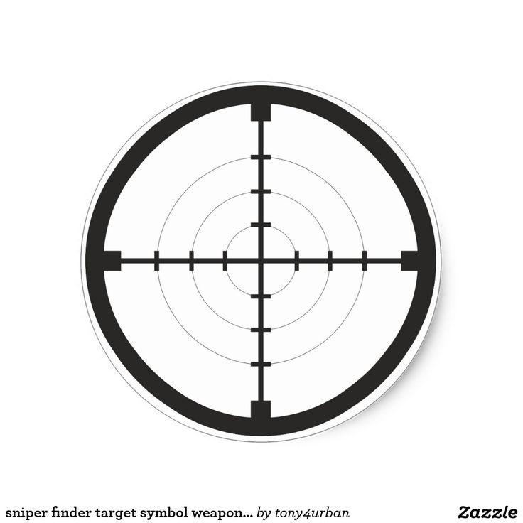 Sniper Finder Target Symbol Weapon Gun Army Round Sticker