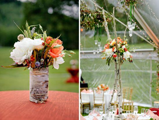 Flowers by mountain of aspen wedding