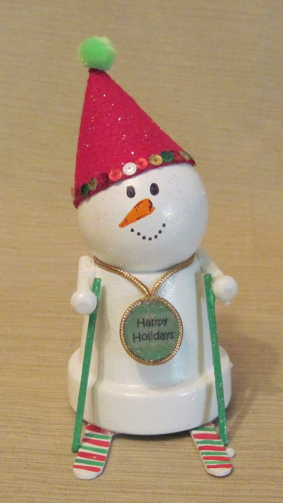 Clay Pot Skiing Snowman...so cute!