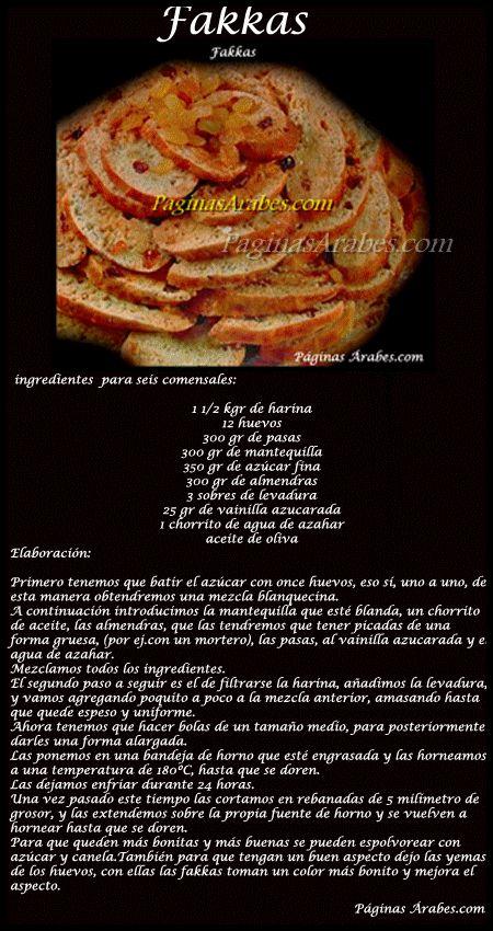 Cocina marroquí - Fakkas  Con almendras, pasas y un buen toque de agua de azahar para que el sabor sea perfecto !