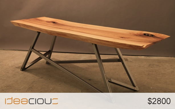 XXXY Sugar Maple by Storyboard | Furniture Kickstart your conversations with your feet up on a live edge slab with a killer base. $2800. #table #furniture #home #decor