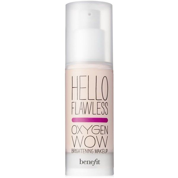 Benefit Cosmetics hello flawless oxygen wow spf 25 liquid foundation ($36) ❤ liked on Polyvore featuring beauty products, makeup, face makeup, foundation, beauty, cosmetics, filler, liquid foundation, oil free liquid foundation and benefit foundation