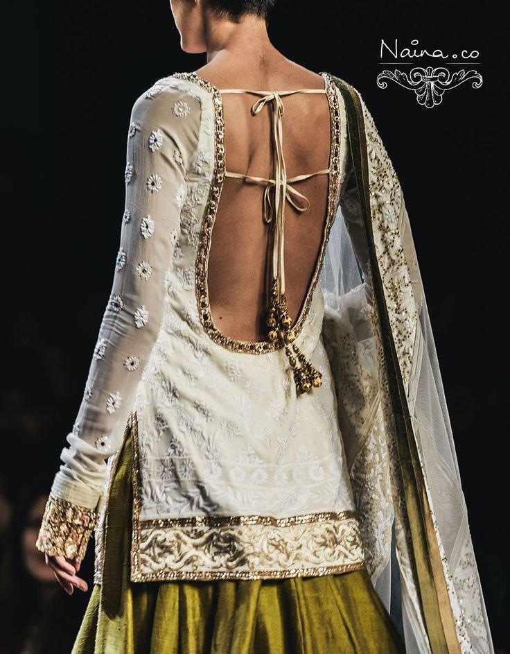 Manish Malhotra salwar details. tassels and lace sleeves. #IndianFashion