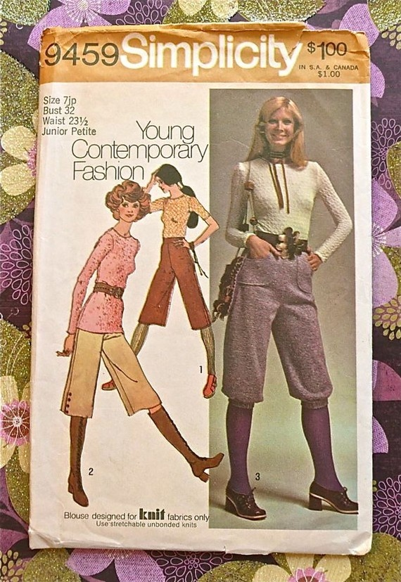 Vintage 1970s Women's Gaucho Pants Pattern with Knickers ...