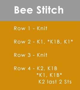 How to Knit the BEE STITCH by Studio Knit :: This is a Brioche knit which means it's light, fluffy, has great dimension. The BEE STITCH requires that you cast on an ODD number of stitches. *K1B = knit 1 below