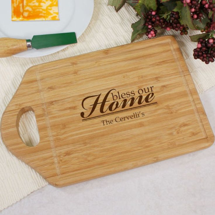 Personalized Engraved Bless Our Home Cheese Carving Board - Gifts Happen Here