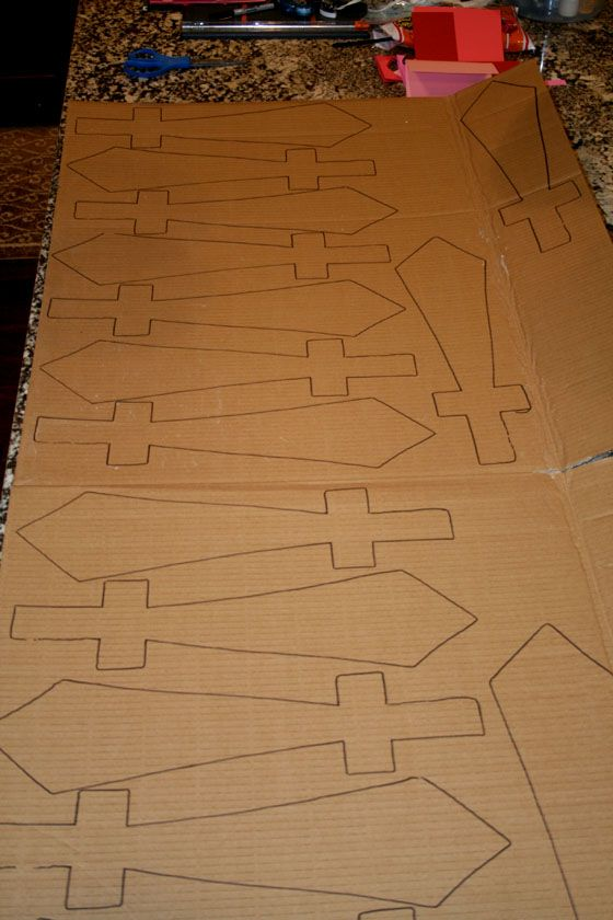 make it! - pirate swords; paint silver/gold +add black duct to handle