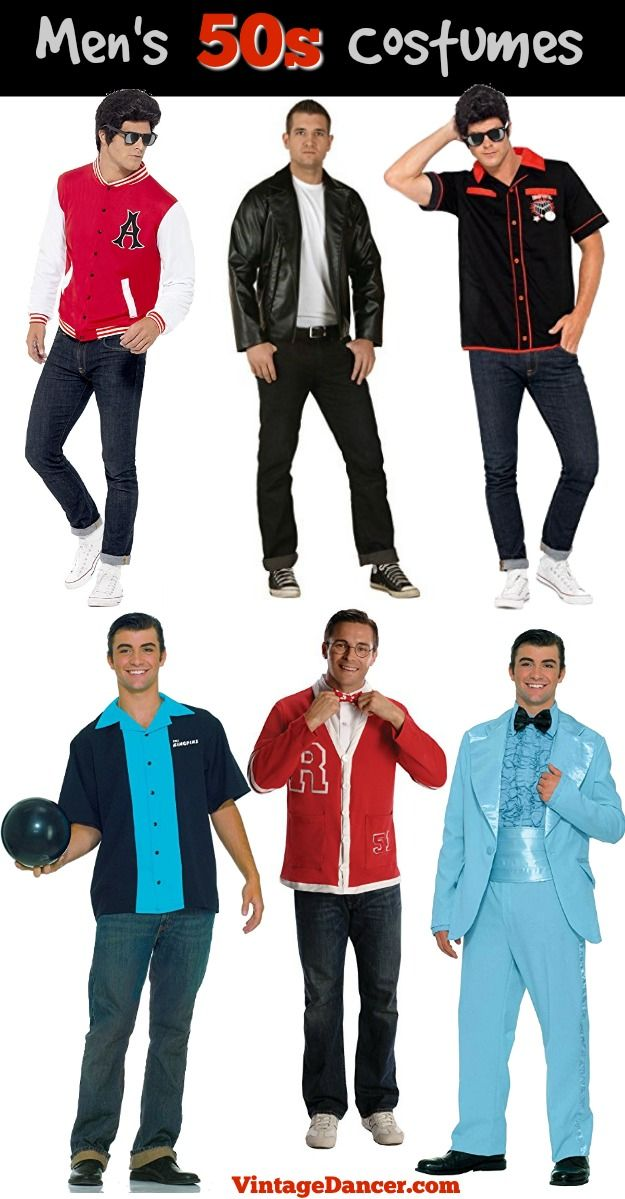 50s mens costumes idea: 1950s Halloween costumes grease greaser Rockabilly, bowler, nerd, Letterman, prom king