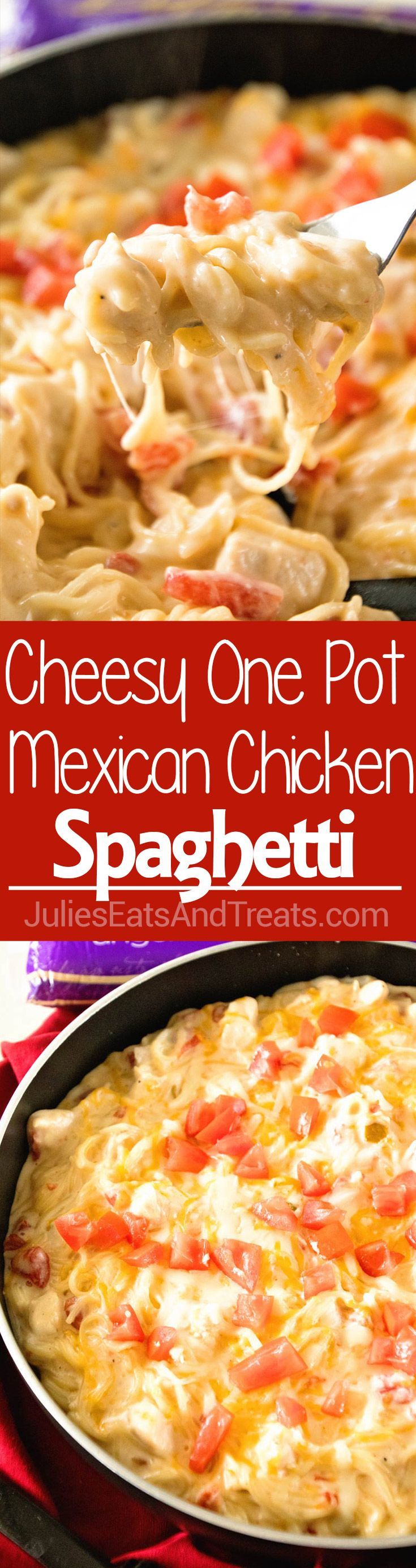 One Pot Mexican Chicken Spaghetti ~ Delicious One Pot Pasta Recipe with Mexican Flavor! Creamy, Mexican Chicken Spaghetti Recipe with a Kick is on the Table in 30 Minutes! via @julieseats @DaVinciPasta, #EndlessPastabilities #PastaPersonalitiesju