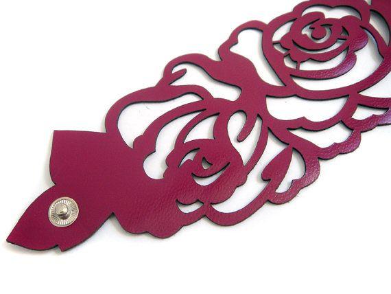 Leather cuff bracelet  laser cut rose design in by EmilydeMolly, $35.00