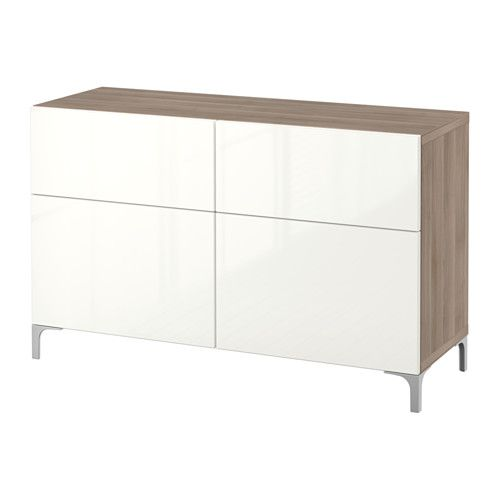 BESTÅ Storage combination w doors/drawers - walnut effect light gray/Selsviken high-gloss/white, drawer runner, soft-closing - IKEA