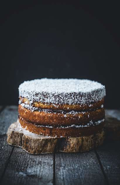 Boozy mocha coconut layer cake recipe from Top With Cinnamon by Izy Hossack | Cooked