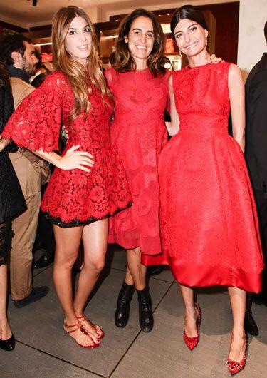 Dolce & Gabbana 5th Ave Flagship Opening -Bianca Brandolini, Coco Brandolini and Giovanna Battaglia all in Dolce & Gabbana