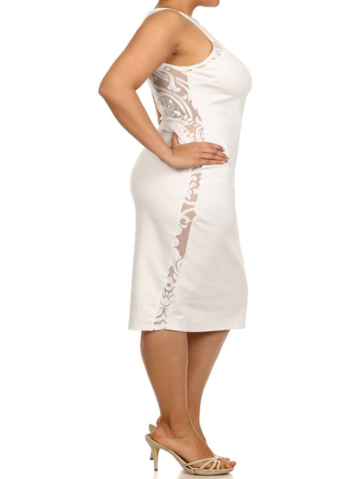 Plus Size Graceful Victorian Print Mesh White Midi Dress ...