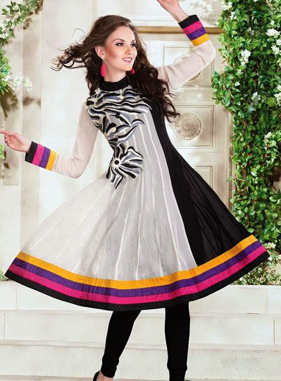 USD 70.71 Black and Off White Long Kurti    34965