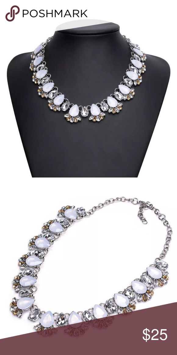 New Silver and White Necklace Beautiful and elegant Silver plated brass material, Silver color & White/Gold Glass Gems. Jewelry Necklaces