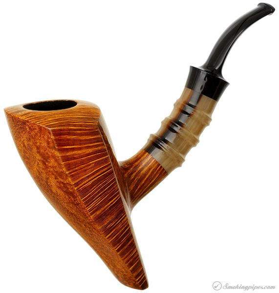 Peter Heding Smooth Elephant's Foot Sitter with Horn Bamboo (Diamond) Pipes at Smoking Pipes .com