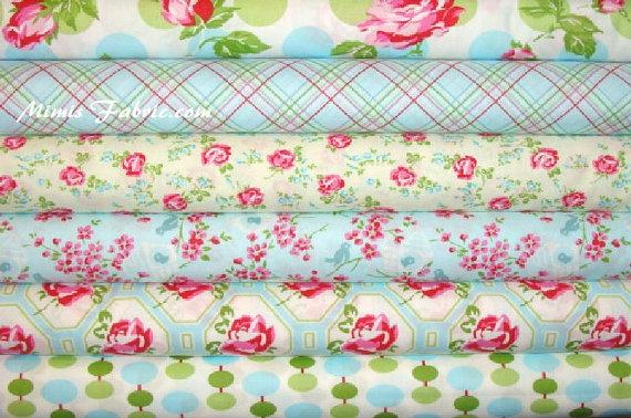 Tanya Whelan Fabric / Sugar Hill /  6 Half Yard Bundle / Blues - Cotton Quilt Fabric
