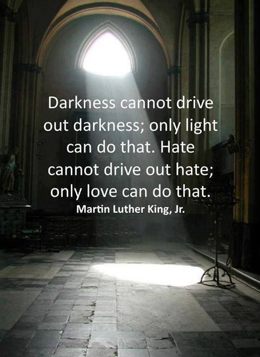 darkness cannot drive out darkness. only light can do that.  hate cannot drive out hate.only love can do that.