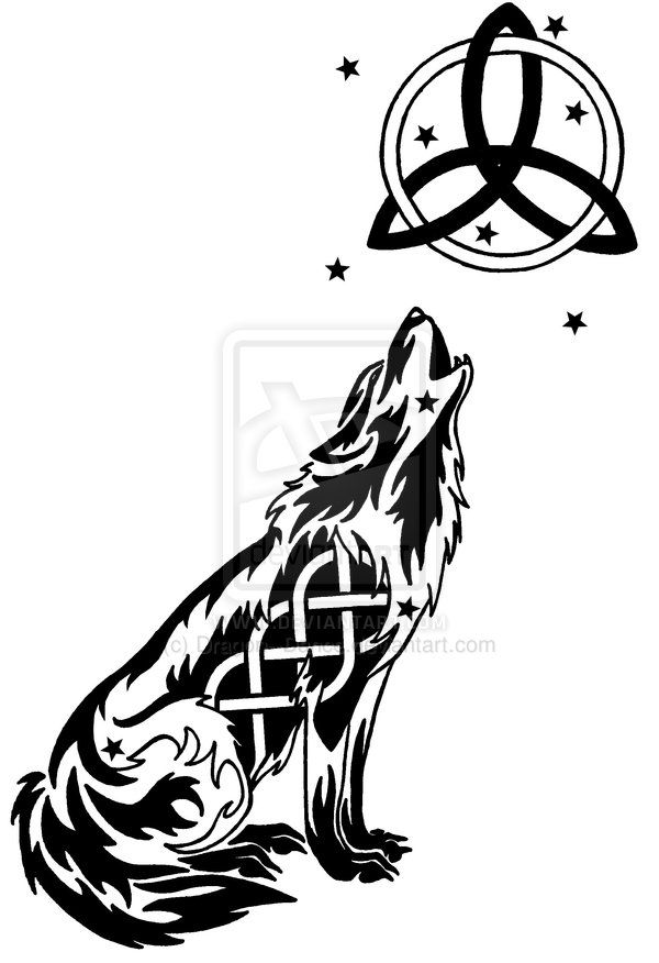 Starry Celtic Wolf And Moon Tattoo by DansuDragon.deviantart.com