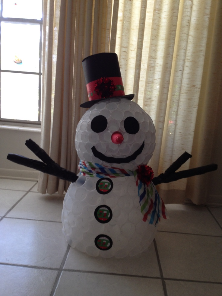 Plastic cups snowman and plastic on pinterest for Cup snowman