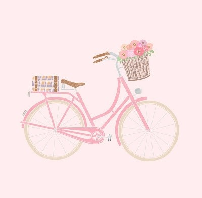 Bike in Pink and basket with flowers _ Bici in Rosa e cestino con fiori  - #Illustration #Illustrazione