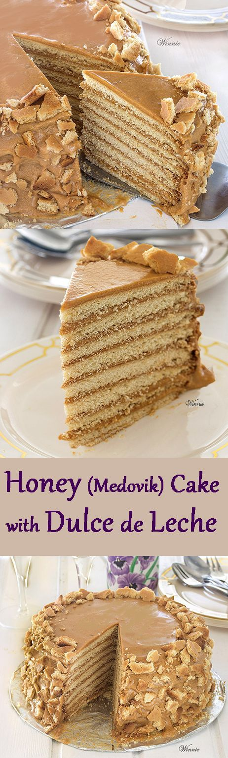 Honey Layer Cake (Medovik Cake) with Dulce de Leche. Very impressive and delicious cake, and not so difficult to make. http://www.winnish.net/2013/08/2362/