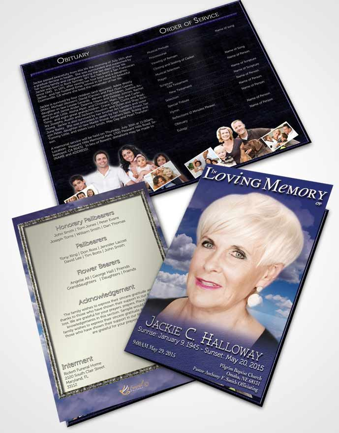 bifold order of service obituary template brochure fiery blue clouds