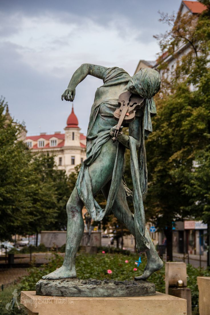 One of the most beautiful statues in Prague, part of the Czech musicians fountain.