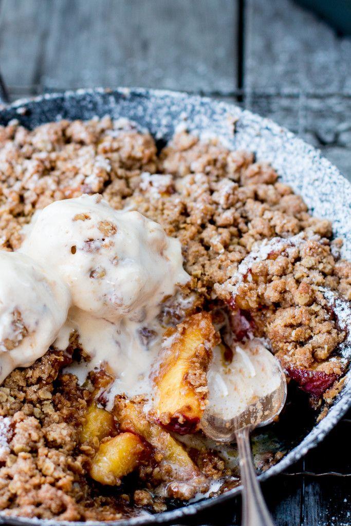 Peach Crumble with NO CHURN Maple-Walnut Ice Cream
