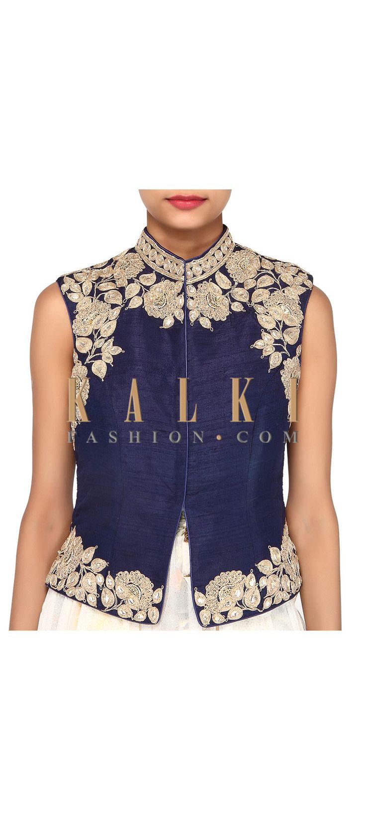 Buy Online from the link below. We ship worldwide (Free Shipping over US$100). Product SKU - 275659. Product Link - http://www.kalkifashion.com/navy-blue-blouse-adorn-in-zari-embroidery-only-on-kalki.html