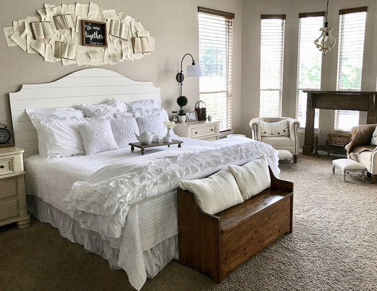 Master Bedroom, Bedroom Ideas, Farmhouse Bedroom, Shiplap Headboard, Book  Wall, Bench