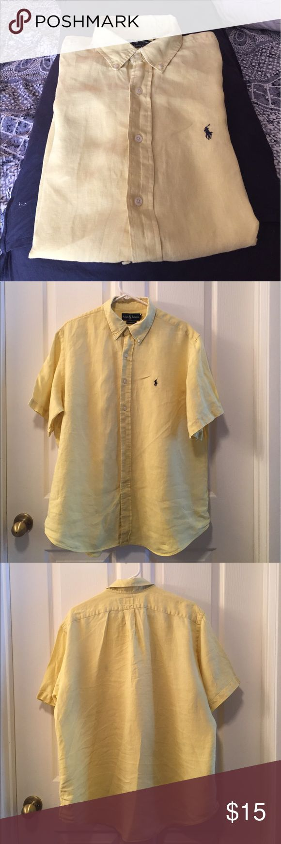 Men's short sleeve button down RL shirts/ XL men's short sleeve Polo Jeans Ralph Lauren button down shirt in Large.  100% Cotton.  This shirt is still I. Good condition except the collar is tattered but still able to wear it. This is why I am selling it less than my other Ralph Lauren. This is a Classic Fit Polo by Ralph Lauren Shirts Casual Button Down Shirts