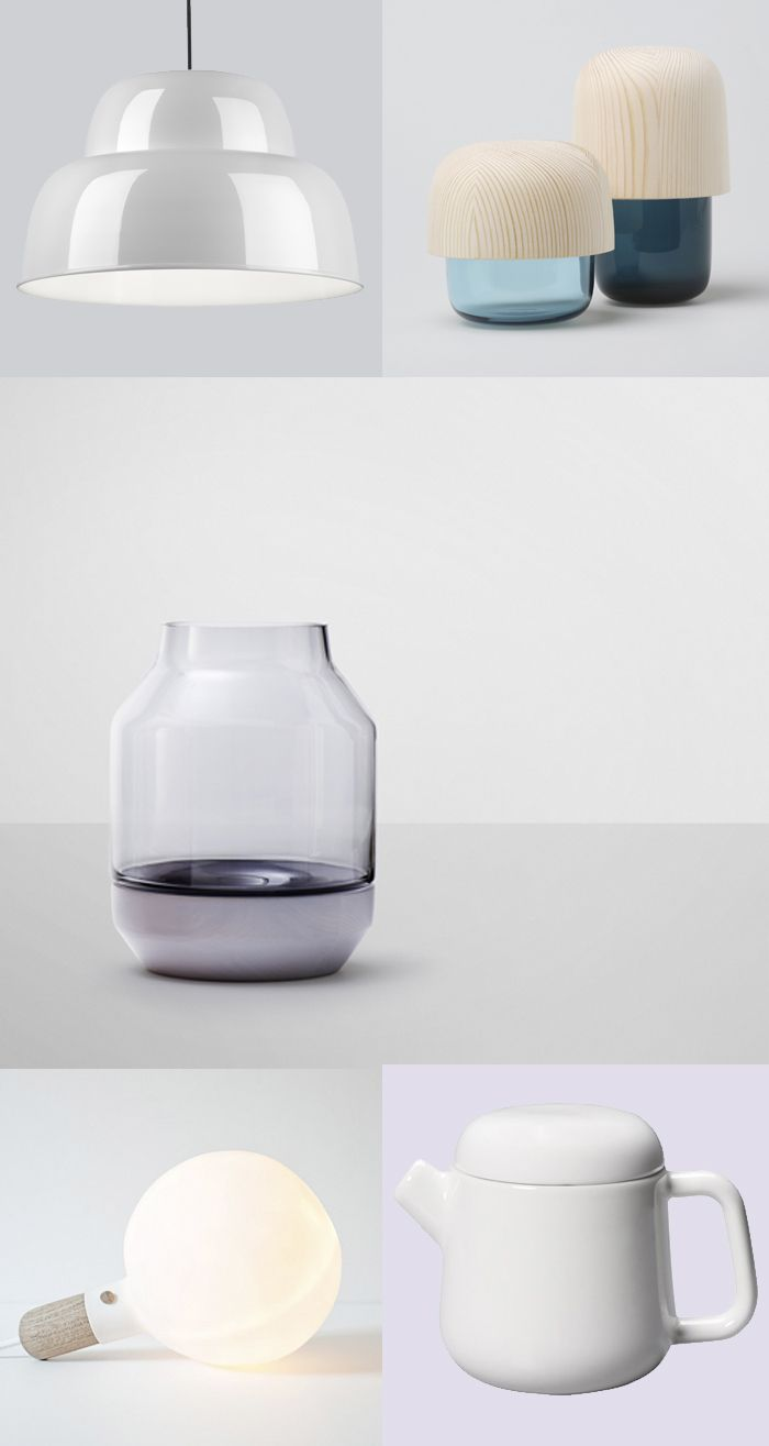 Levels lamp | One Nordic Company —  Tatti containers |  Katriina-Nuutinen, Kaamosgroup —  Elevated Vase | Muuto —  S-Lamp | Jomi Evers Solheim —  Teapot | Kinto