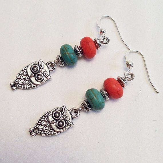 Owl Charm Orange & Turquoise Beaded Dangling Drop Earrings with Silver Beads, Casual Everyday Dangle Earings