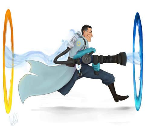 I love Portal and Tf2 so i love this :) and i love the medic...okay this is the most badass thing ever to me!