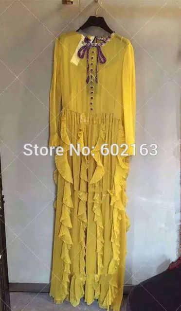 Luxury Runway Brand 2016 New Women Yellow Fashion Casual Long Dress High Quality US $205.20 /piece To Buy Or See Another Product Click On This Link  http://goo.gl/IdJFhm