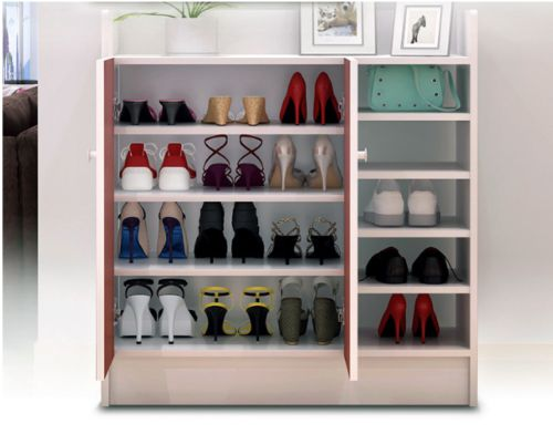 Shoe-Storage-Cabinet-Organizer-Rack-2-Doors-and-Display-Shelf-Wooden-White
