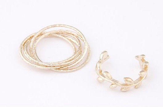 Gold Multi circle & Leaf rings