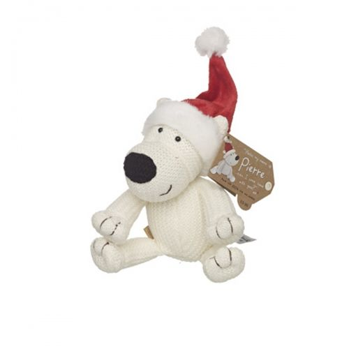 Boofle small pierre polar bear plush in santa hat