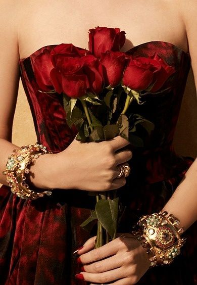 An evening dress and roses from your date means a very nice time will be had by both :-)