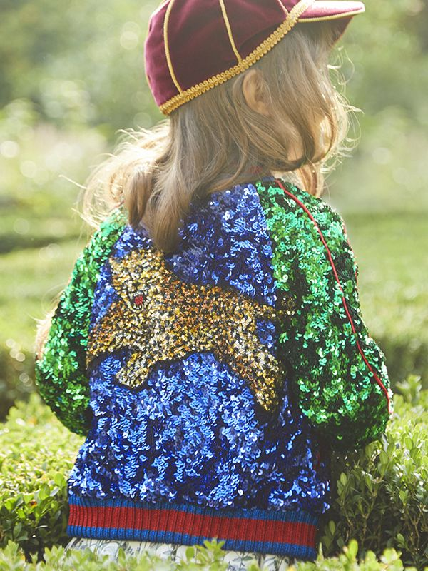 Multicolor tulle zip bomber with all-over sequin embroidery, knitted lurex web borders and sequin tiger appliqué from the Gucci Children's Spring Summer 2017 collection.