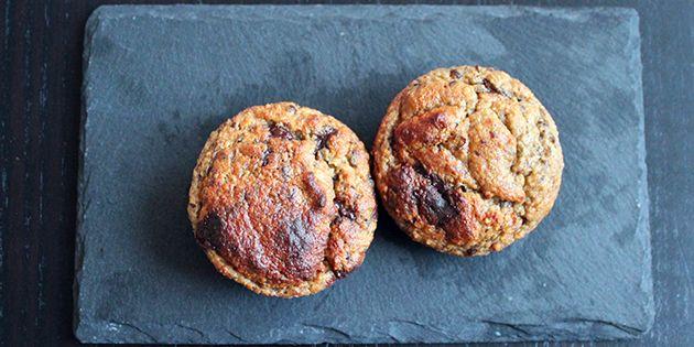 Fantastiske sunde bananmuffins med chokoladestykker.