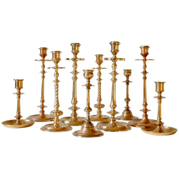 Set of Ten Scandinavian Art Deco Solid Bass Candleholders 1
