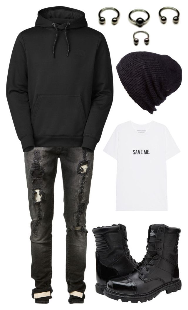 """gutter/crust punk idea"" by plastic-bile on Polyvore featuring Off-White, The North Face, Coal, men's fashion and menswear"