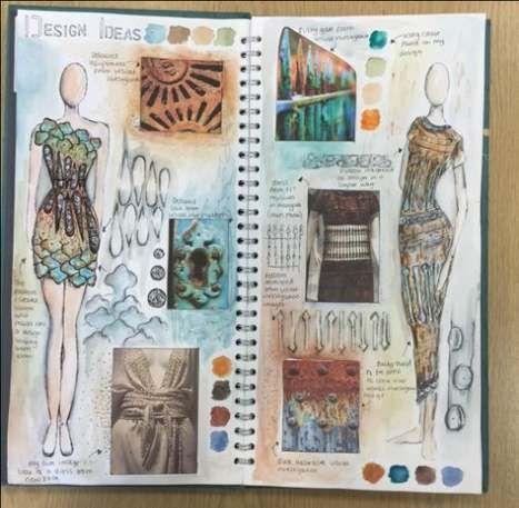 Fashion designer drawings sketches