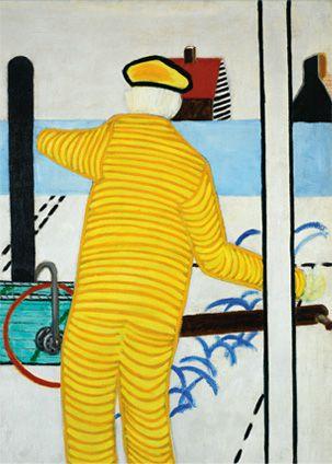 """Roger Raveel 15 juli 1921-30 januari 2013 Te bezichtigen in het Roger Raveel museum in Machelen """"Gele man met karretje"""""""