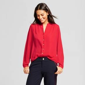 A New Day Women's Long Sleeve Pleat Back Blouse