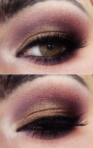 Blend purple and gold shadow to get a perfect look for your brown eyes.